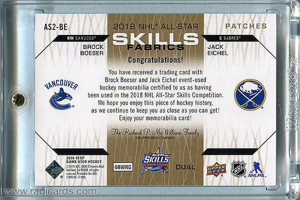 Brock Boeser/Jack Eichel 2018-19 SP Game Used '18 All Star Skills Fabrics Dual Patch #AS2-BE /25