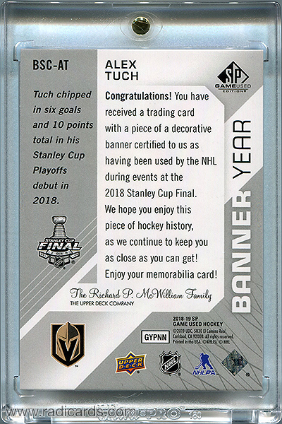 Alex Tuch 2018-19 SP Game Used Banner Year '18 Stanley Cup Finals BSC-AT
