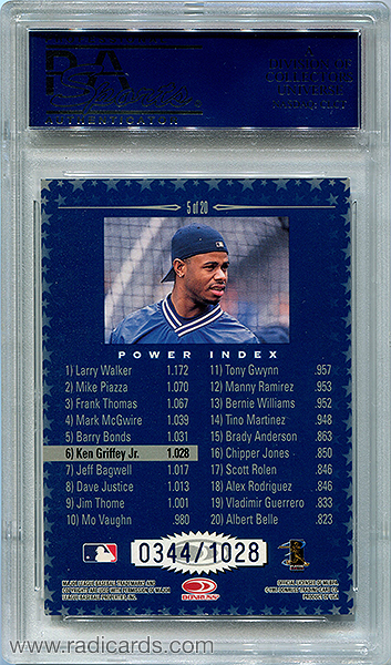 Ken Griffey Jr. 1998 Donruss Production Line Power Index #5 /1028 PSA 10