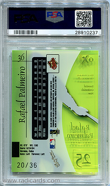 Rafael Palmeiro 1998 E-X2001 #36 Essential Credentials Now /36 PSA 10