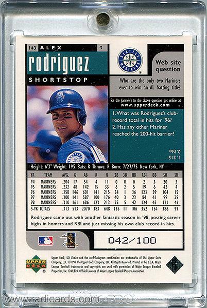 Alex Rodriguez 1999 UD Choice #143 Prime Choice Reserve /100