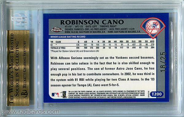Robinson Cano 2003 Topps Chrome Traded #T200 Uncirculated X-Fractor /25 BGS 9.5