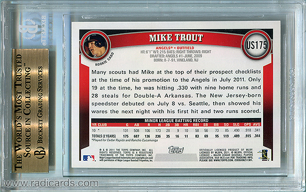 Mike Trout 2011 Topps Update #US175 BGS 9.5